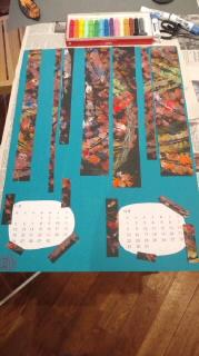 葉のスタンピングカレンダー